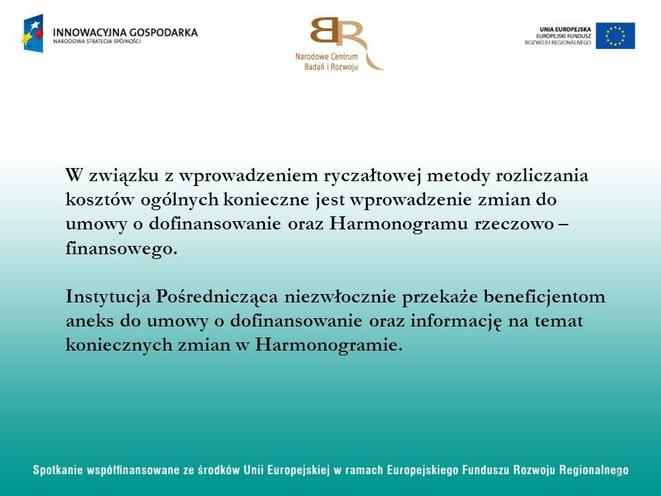W związku z wprowadzeniem ryczałtowej metody rozliczania kosztów ogólnych konieczne jest wprowadzenie zmian do umowy o dofinansowanie oraz Harmonogram