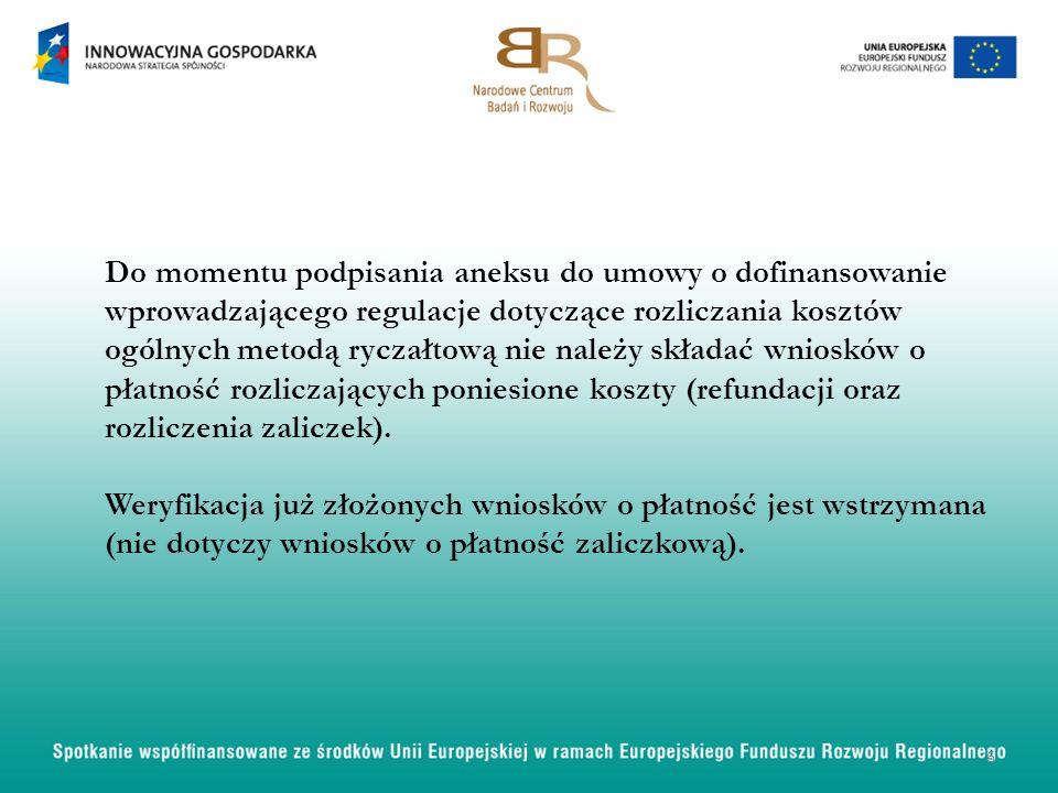 Do momentu podpisania aneksu do umowy o dofinansowanie wprowadzającego regulacje dotyczące rozliczania kosztów ogólnych metodą ryczałtową nie należy s