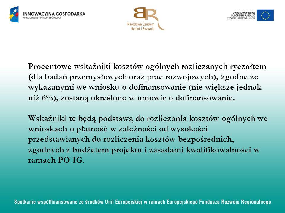 Procentowe wskaźniki kosztów ogólnych rozliczanych ryczałtem (dla badań przemysłowych oraz prac rozwojowych), zgodne ze wykazanymi we wniosku o dofina
