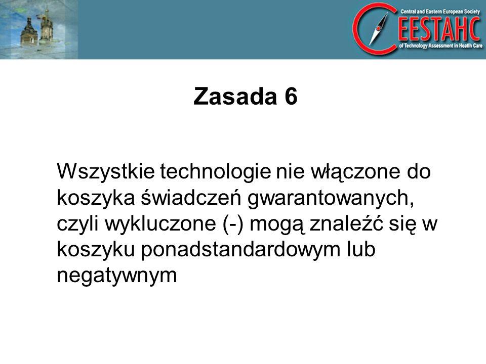 Zasada 6 Wszystkie technologie nie włączone do koszyka świadczeń gwarantowanych, czyli wykluczone (-) mogą znaleźć się w koszyku ponadstandardowym lub negatywnym