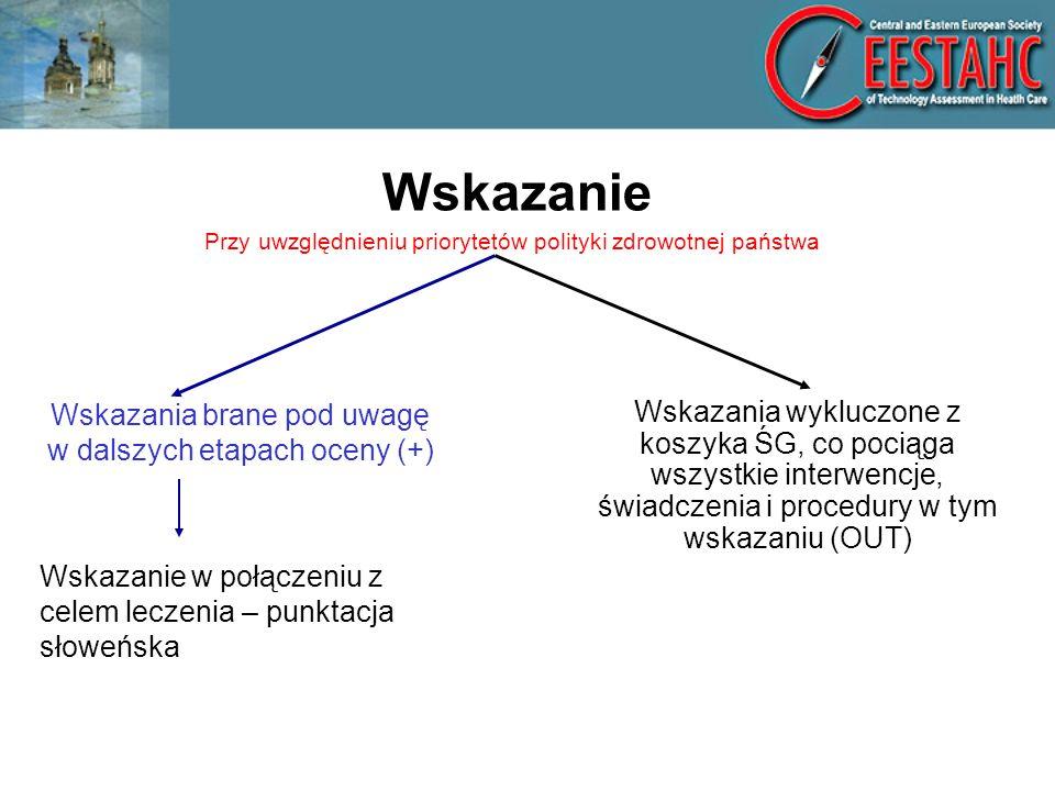 Wskazanie Wskazania brane pod uwagę w dalszych etapach oceny (+) Wskazanie w połączeniu z celem leczenia – punktacja słoweńska Przy uwzględnieniu priorytetów polityki zdrowotnej państwa Wskazania wykluczone z koszyka ŚG, co pociąga wszystkie interwencje, świadczenia i procedury w tym wskazaniu (OUT)