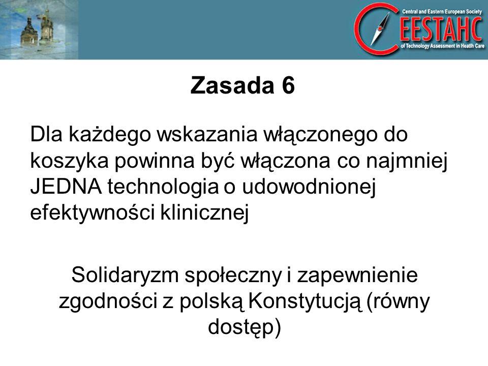 Zasada 6 Dla każdego wskazania włączonego do koszyka powinna być włączona co najmniej JEDNA technologia o udowodnionej efektywności klinicznej Solidaryzm społeczny i zapewnienie zgodności z polską Konstytucją (równy dostęp)