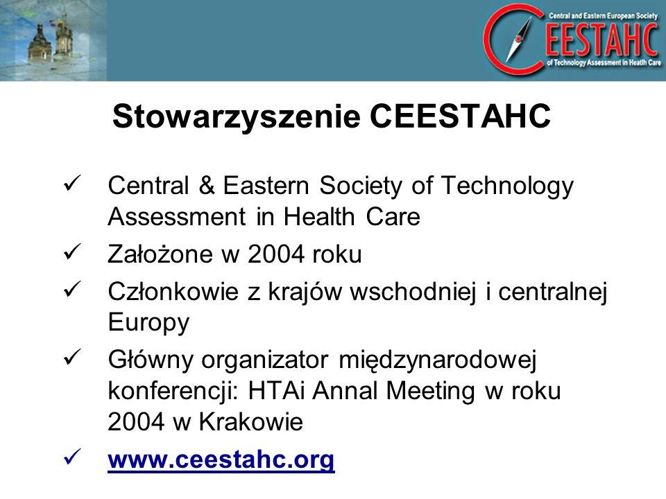 Stowarzyszenie CEESTAHC Central & Eastern Society of Technology Assessment in Health Care Założone w 2004 roku Członkowie z krajów wschodniej i centralnej Europy Główny organizator międzynarodowej konferencji: HTAi Annal Meeting w roku 2004 w Krakowie www.ceestahc.org