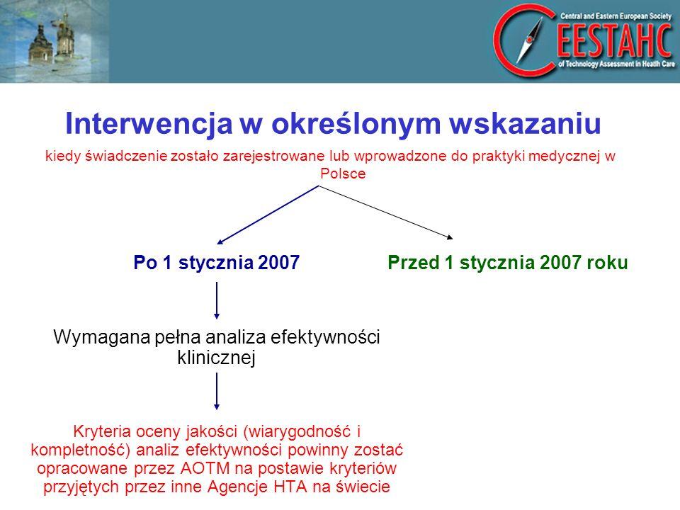 Interwencja w określonym wskazaniu Po 1 stycznia 2007 Wymagana pełna analiza efektywności klinicznej Kryteria oceny jakości (wiarygodność i kompletność) analiz efektywności powinny zostać opracowane przez AOTM na postawie kryteriów przyjętych przez inne Agencje HTA na świecie Przed 1 stycznia 2007 roku kiedy świadczenie zostało zarejestrowane lub wprowadzone do praktyki medycznej w Polsce