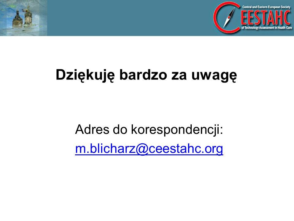 Dziękuję bardzo za uwagę Adres do korespondencji: m.blicharz@ceestahc.org