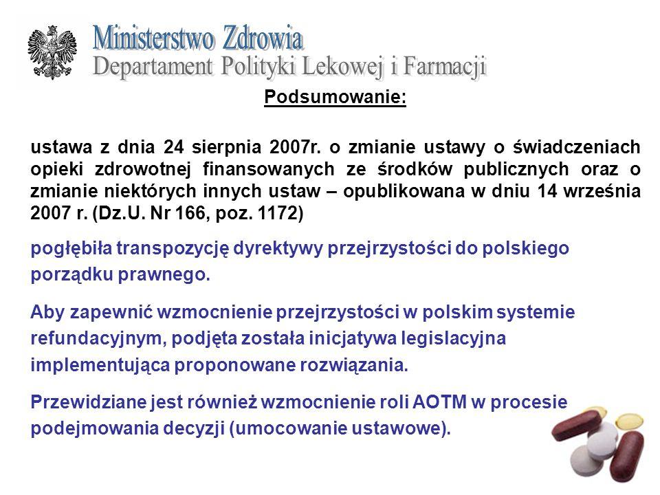 Podsumowanie: ustawa z dnia 24 sierpnia 2007r. o zmianie ustawy o świadczeniach opieki zdrowotnej finansowanych ze środków publicznych oraz o zmianie