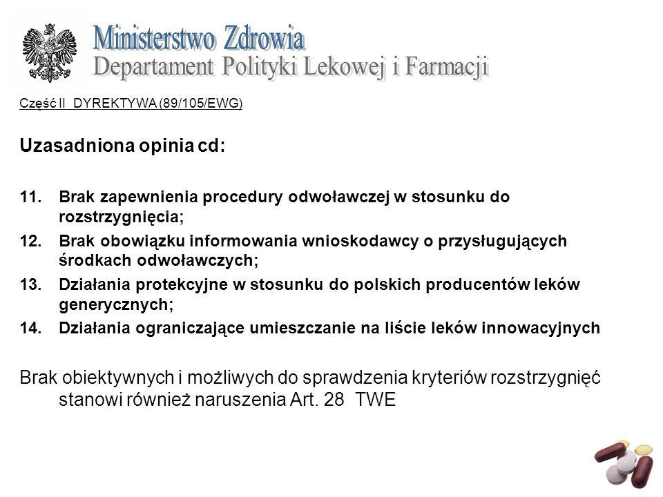Część II DYREKTYWA (89/105/EWG) Uzasadniona opinia cd: 11.Brak zapewnienia procedury odwoławczej w stosunku do rozstrzygnięcia; 12.Brak obowiązku info