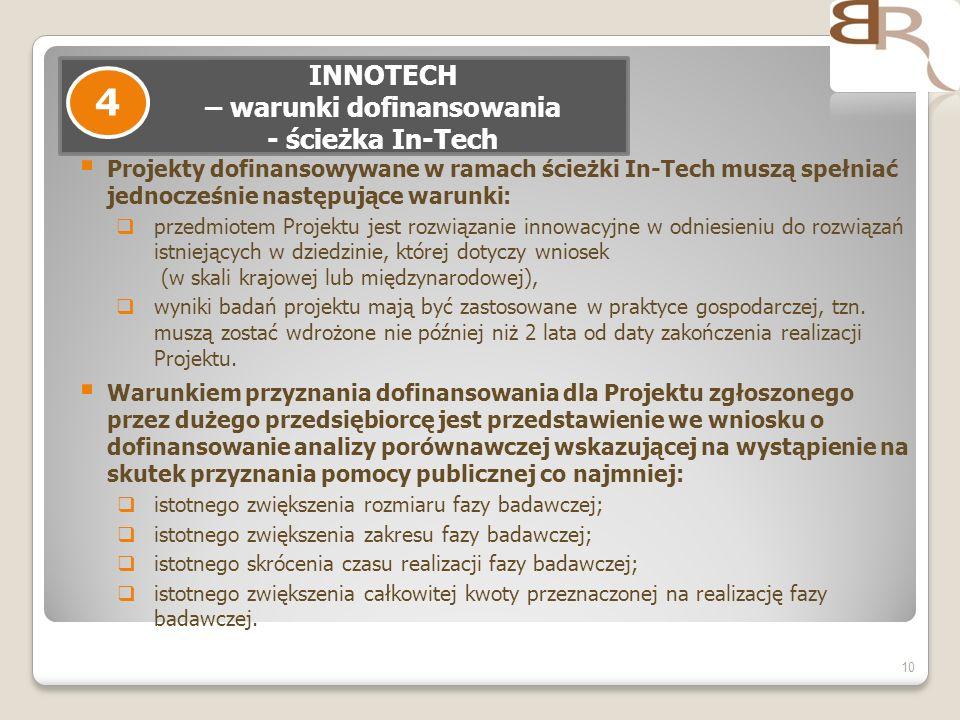 Projekty dofinansowywane w ramach ścieżki In-Tech muszą spełniać jednocześnie następujące warunki: przedmiotem Projektu jest rozwiązanie innowacyjne w
