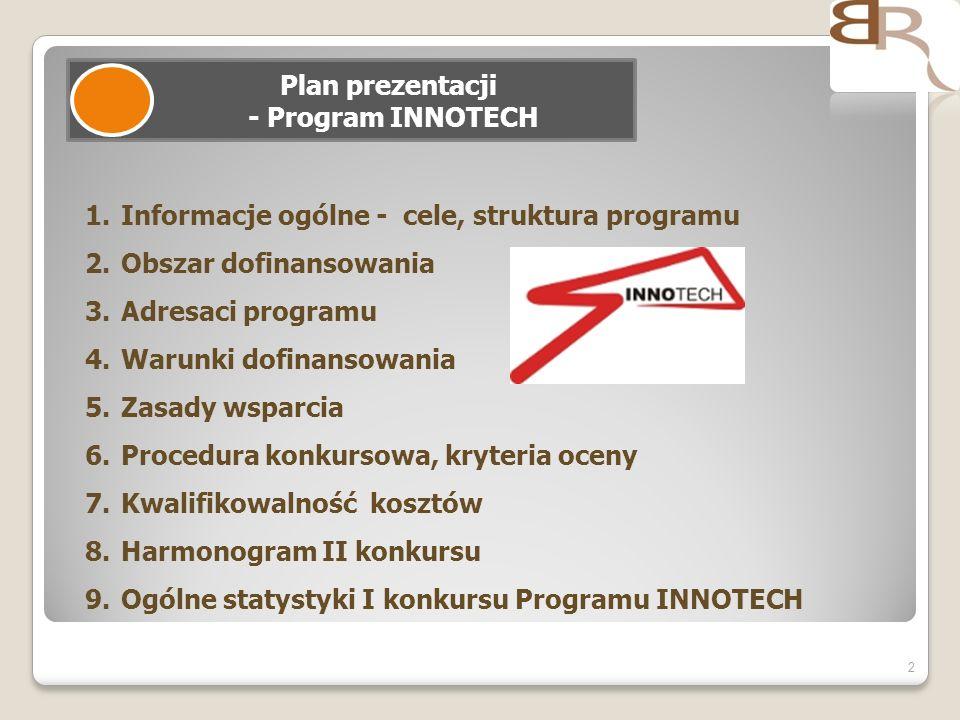 2 Plan prezentacji - Program INNOTECH 1.Informacje ogólne - cele, struktura programu 2.Obszar dofinansowania 3.Adresaci programu 4.Warunki dofinansowa