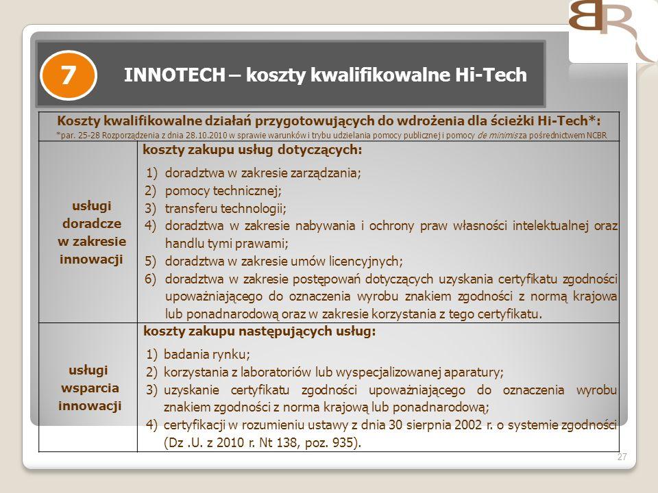 27 INNOTECH – koszty kwalifikowalne Hi-Tech 7 Koszty kwalifikowalne działań przygotowujących do wdrożenia dla ścieżki Hi-Tech*: *par. 25-28 Rozporządz