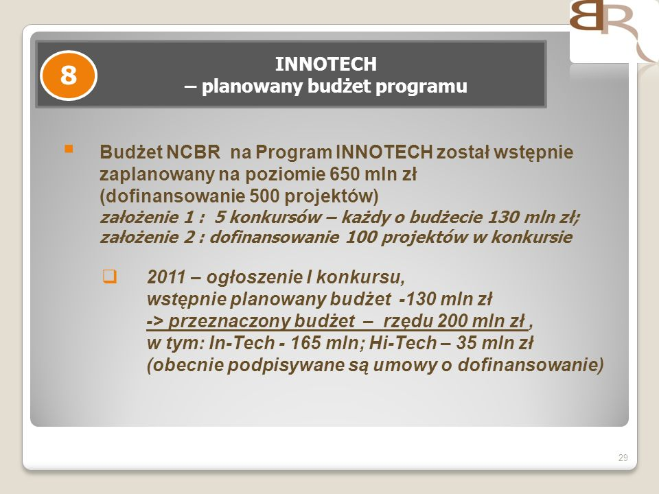 29 INNOTECH – planowany budżet programu 8 Budżet NCBR na Program INNOTECH został wstępnie zaplanowany na poziomie 650 mln zł (dofinansowanie 500 projektów) założenie 1 : 5 konkursów – każdy o budżecie 130 mln zł; założenie 2 : dofinansowanie 100 projektów w konkursie 2011 – ogłoszenie I konkursu, wstępnie planowany budżet -130 mln zł -> przeznaczony budżet – rzędu 200 mln zł, w tym: In-Tech - 165 mln; Hi-Tech – 35 mln zł (obecnie podpisywane są umowy o dofinansowanie)