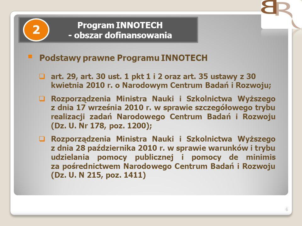 6 Program INNOTECH - obszar dofinansowania 2 Podstawy prawne Programu INNOTECH art. 29, art. 30 ust. 1 pkt 1 i 2 oraz art. 35 ustawy z 30 kwietnia 201