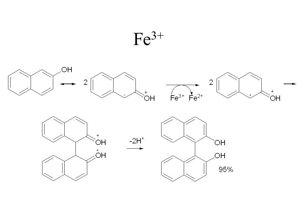 Najczęściej stosuje się chlorek żelaza FeCl 3 oraz cyjanożelazian potasu K 3 Fe(CN) 6 Zalety - reakcję prowadzi się na powietrzu, - otrzymuje się dobre wydajności, Wady - stosunek soli do substratu jest 2:1 lub 1:1, - stosuje się ją głównie dla pochodnych naftoli i fenoli, -reakcja jest mało selektywna i otrzymuje się mieszaniny produktów nie zawsze łatwych do wyizolowania i rozdzielenia