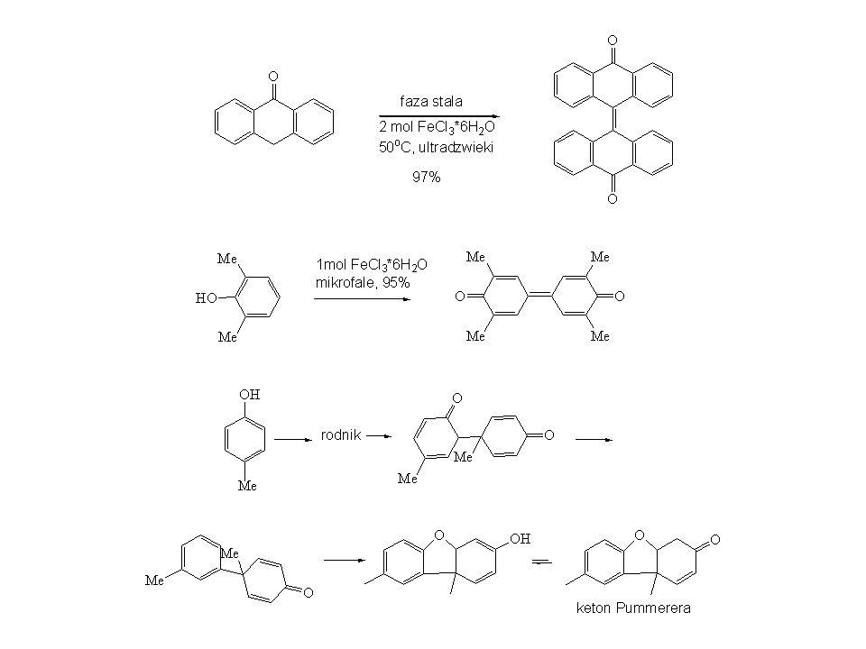 Cu 2+ Cu(OH)Cl*TMEDA - kompleks otrzymuje się z soli miedzi CuCl, CuCl 2 lub Cu(OAc) 2 w obecności TMEDY i tlenu z powietrza, - stosowana głównie do naftoli i fenoli, - w przypadku mniej reaktywnych substratów (z grupami elektronoakceptorowymi) stosuje się duże nadmiary kompleksu (10 mol %), - duża selektywność, - gdy stosuje się zamiast TMEDY chiralne aminy to reakcja jest enancjoselektywna (ee.