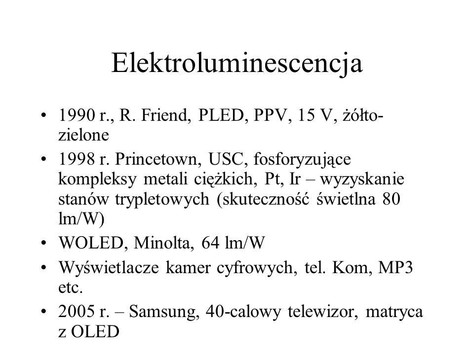 Elektroluminescencja 1990 r., R.Friend, PLED, PPV, 15 V, żółto- zielone 1998 r.