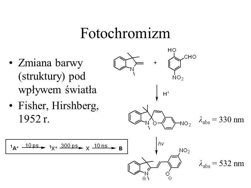 Fotochromizm Zmiana barwy (struktury) pod wpływem światła Fisher, Hirshberg, 1952 r.