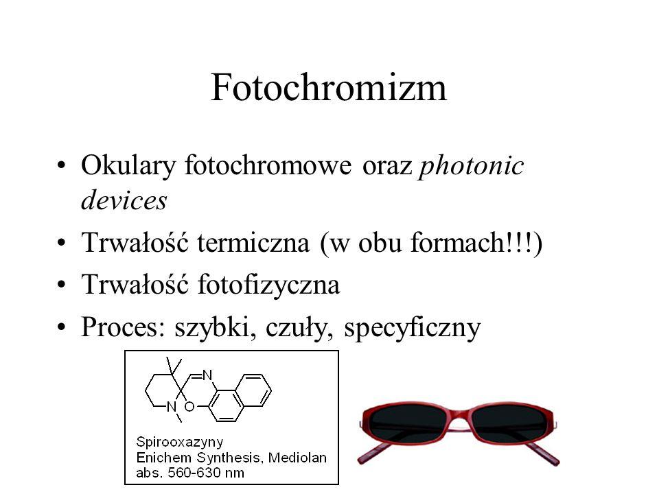 Fotochromizm Okulary fotochromowe oraz photonic devices Trwałość termiczna (w obu formach!!!) Trwałość fotofizyczna Proces: szybki, czuły, specyficzny