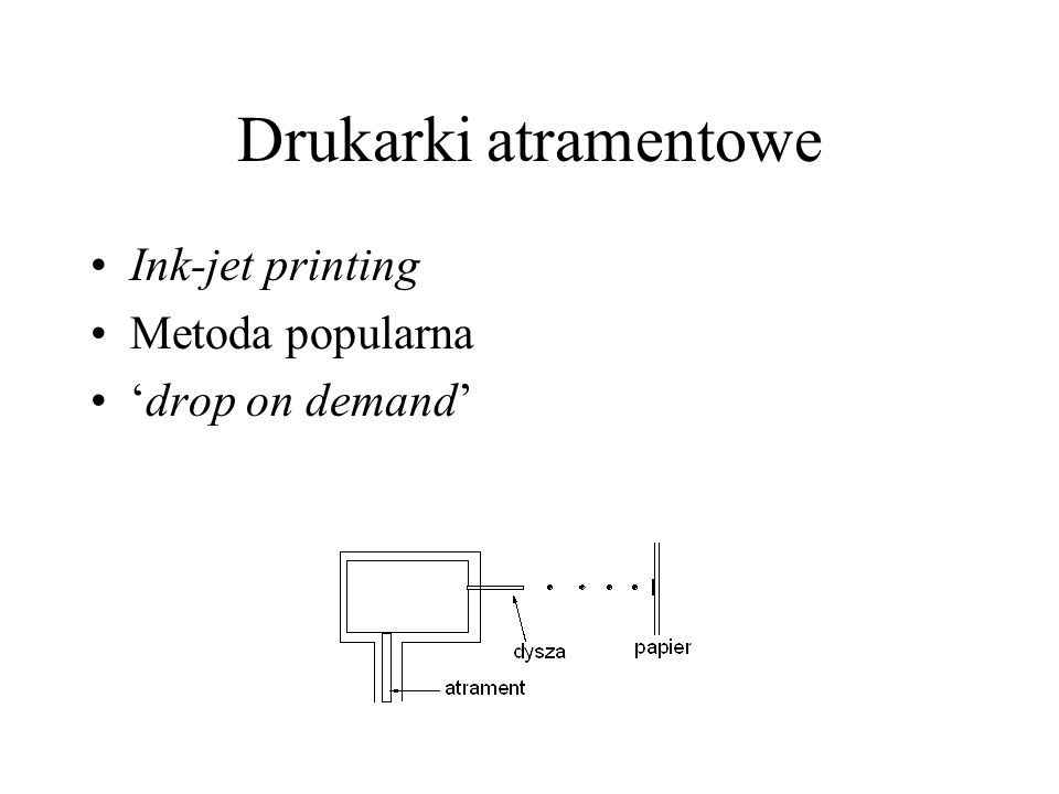 Drukarki atramentowe Ink-jet printing Metoda popularna drop on demand