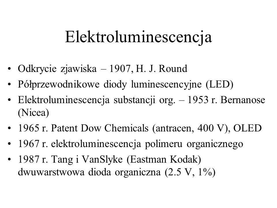 Elektroluminescencja Odkrycie zjawiska – 1907, H.J.
