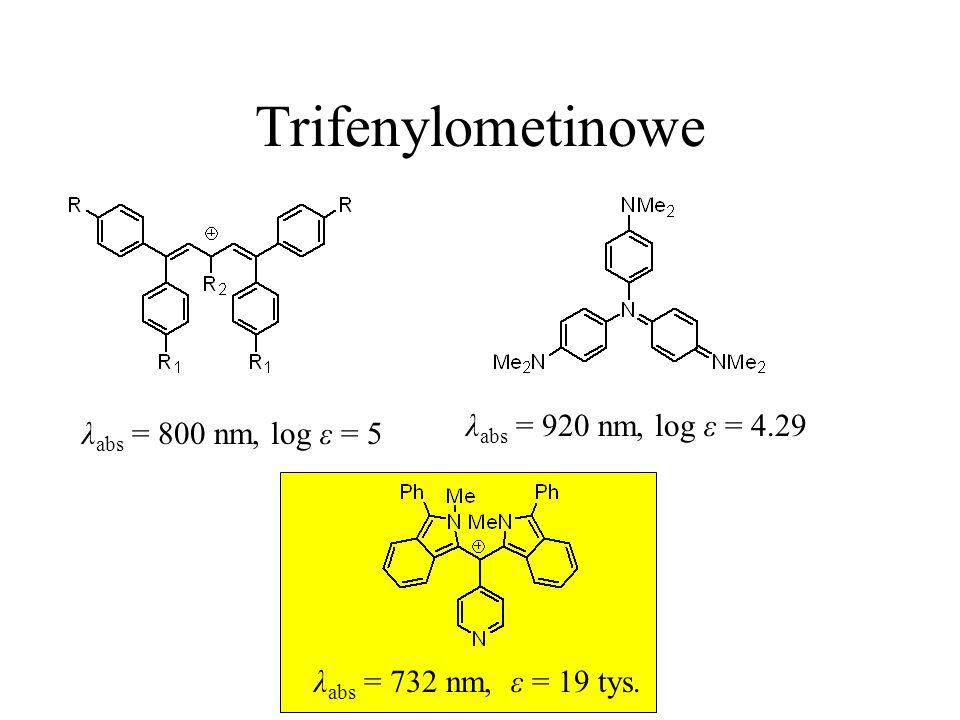 Trifenylometinowe λ abs = 920 nm, log ε = 4.29 λ abs = 800 nm, log ε = 5 λ abs = 732 nm, ε = 19 tys.