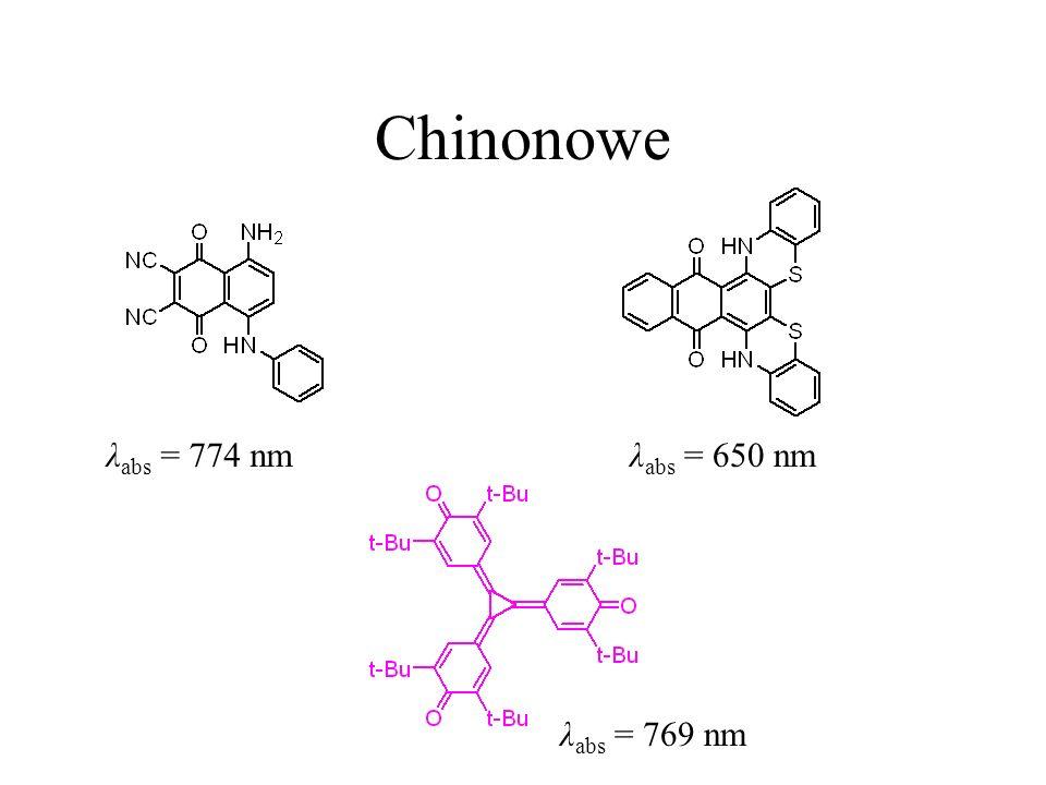 Chinonowe λ abs = 774 nmλ abs = 650 nm λ abs = 769 nm