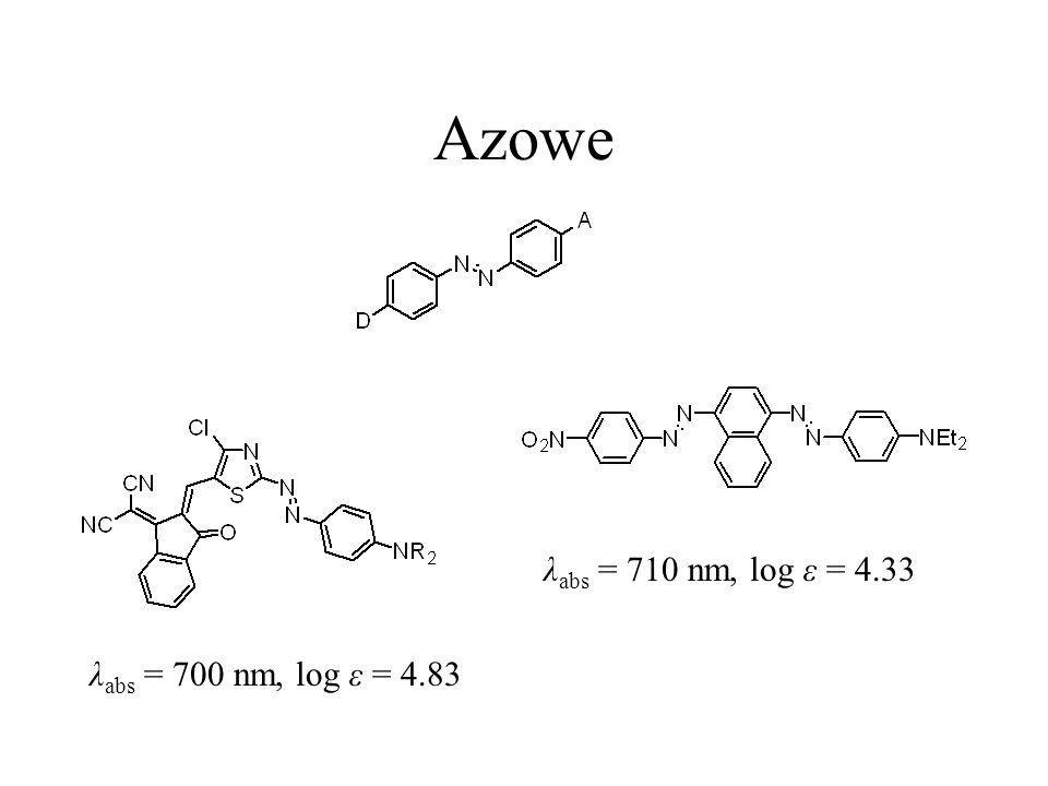 Azowe λ abs = 710 nm, log ε = 4.33 λ abs = 700 nm, log ε = 4.83