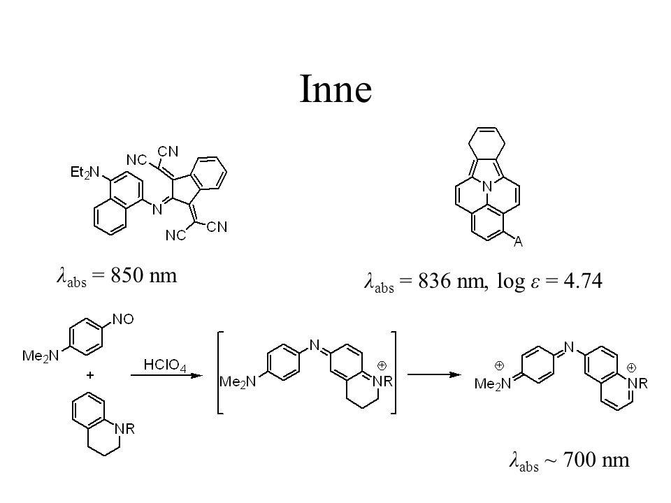 Inne λ abs = 850 nm λ abs = 836 nm, log ε = 4.74 λ abs ~ 700 nm