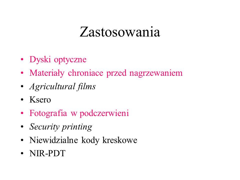 Zastosowania Dyski optyczne Materiały chroniace przed nagrzewaniem Agricultural films Ksero Fotografia w podczerwieni Security printing Niewidzialne k
