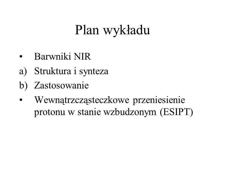 Plan wykładu Barwniki NIR a)Struktura i synteza b)Zastosowanie Wewnątrzcząsteczkowe przeniesienie protonu w stanie wzbudzonym (ESIPT)