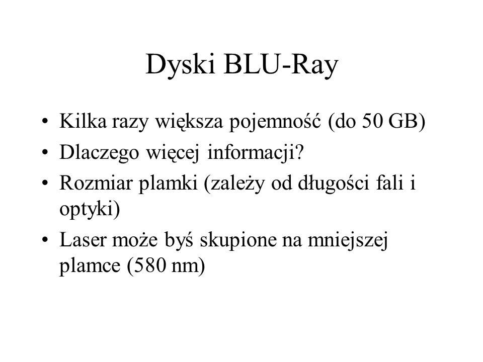 Dyski BLU-Ray Kilka razy większa pojemność (do 50 GB) Dlaczego więcej informacji? Rozmiar plamki (zależy od długości fali i optyki) Laser może byś sku