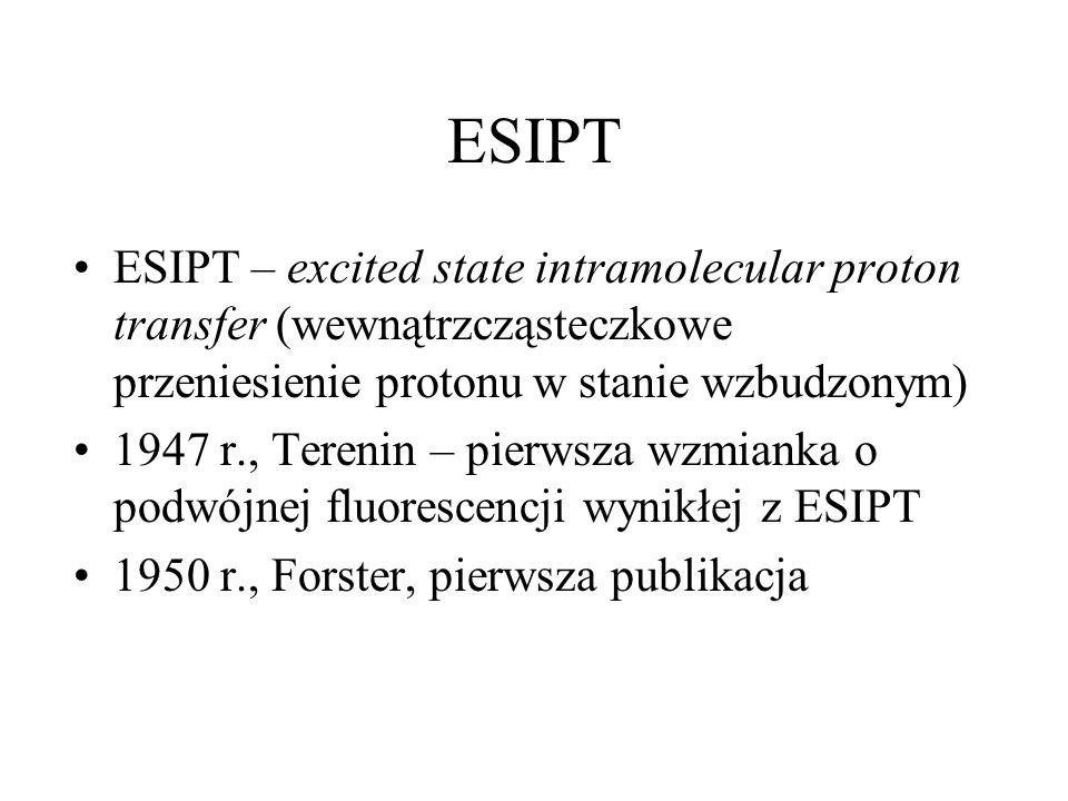ESIPT ESIPT – excited state intramolecular proton transfer (wewnątrzcząsteczkowe przeniesienie protonu w stanie wzbudzonym) 1947 r., Terenin – pierwsz