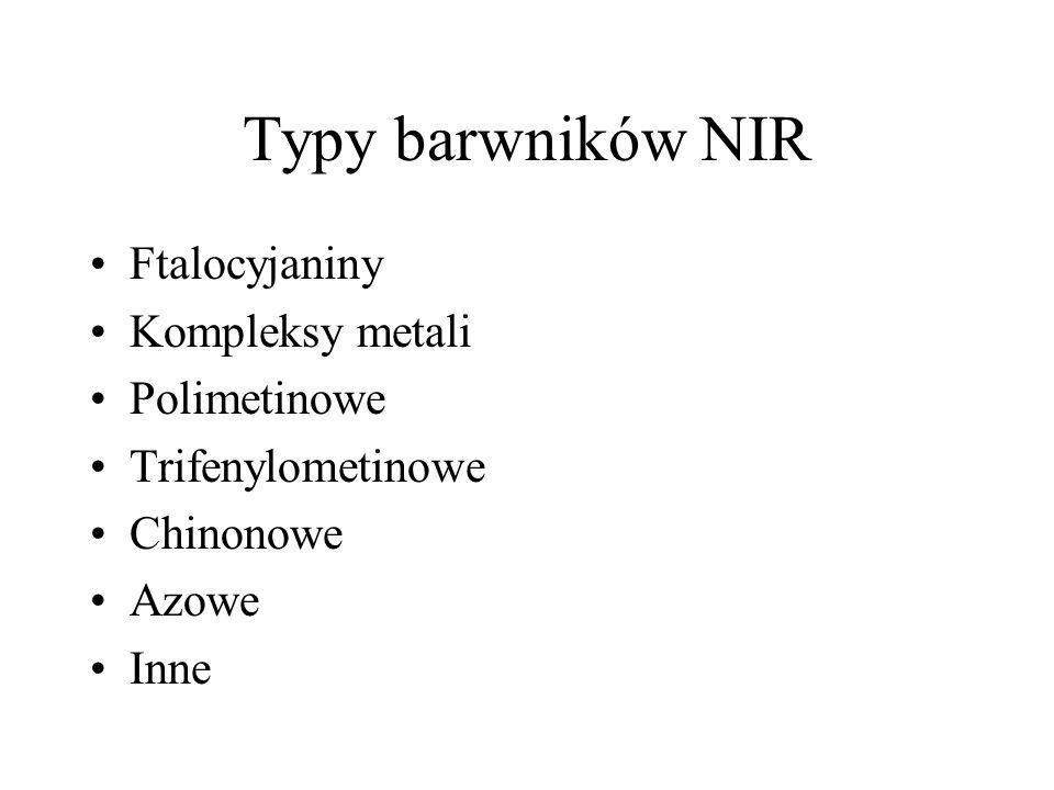 Typy barwników NIR Ftalocyjaniny Kompleksy metali Polimetinowe Trifenylometinowe Chinonowe Azowe Inne