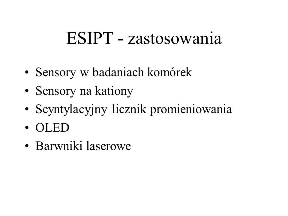 ESIPT - zastosowania Sensory w badaniach komórek Sensory na kationy Scyntylacyjny licznik promieniowania OLED Barwniki laserowe