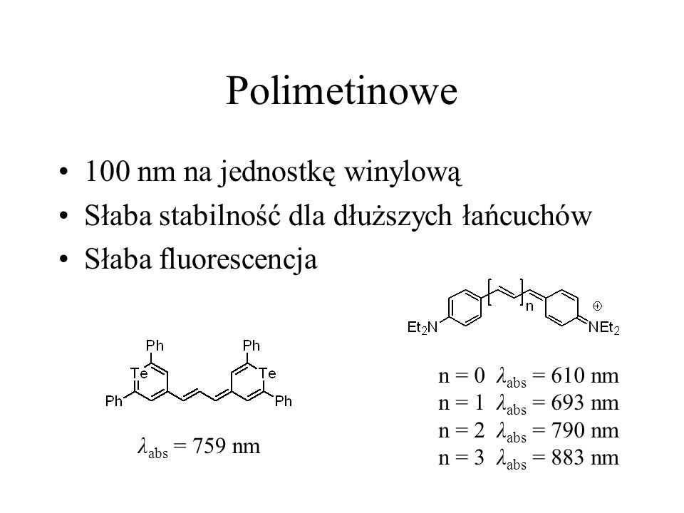 Polimetinowe 100 nm na jednostkę winylową Słaba stabilność dla dłuższych łańcuchów Słaba fluorescencja n = 0 λ abs = 610 nm n = 1 λ abs = 693 nm n = 2