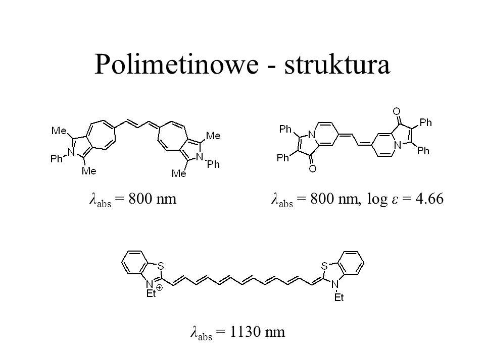 Polimetinowe - struktura λ abs = 1130 nm λ abs = 800 nmλ abs = 800 nm, log ε = 4.66