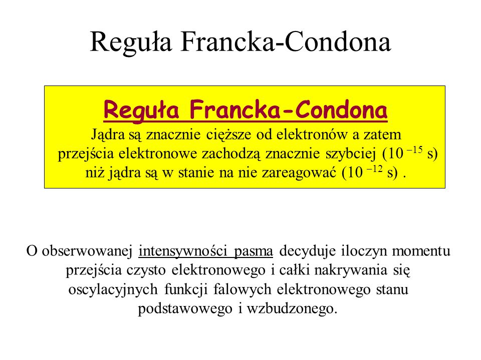 Reguła Francka-Condona O obserwowanej intensywności pasma decyduje iloczyn momentu przejścia czysto elektronowego i całki nakrywania się oscylacyjnych