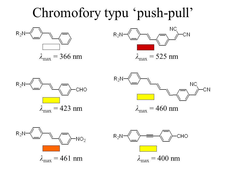 Chromofory typu push-pull λ max = 366 nmλ max = 525 nm λ max = 423 nm λ max = 461 nm λ max = 460 nm λ max = 400 nm