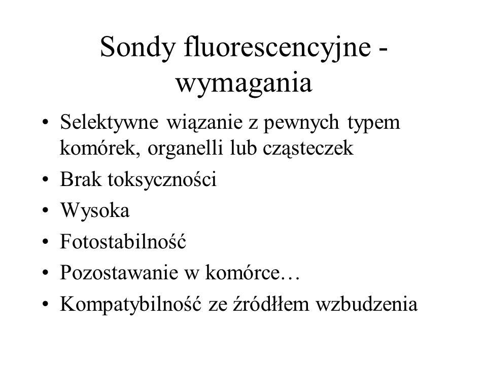Sondy fluorescencyjne - wymagania Selektywne wiązanie z pewnych typem komórek, organelli lub cząsteczek Brak toksyczności Wysoka Fotostabilność Pozost