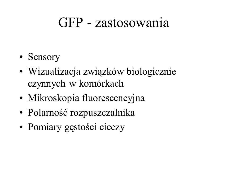GFP - zastosowania Sensory Wizualizacja związków biologicznie czynnych w komórkach Mikroskopia fluorescencyjna Polarność rozpuszczalnika Pomiary gęstości cieczy