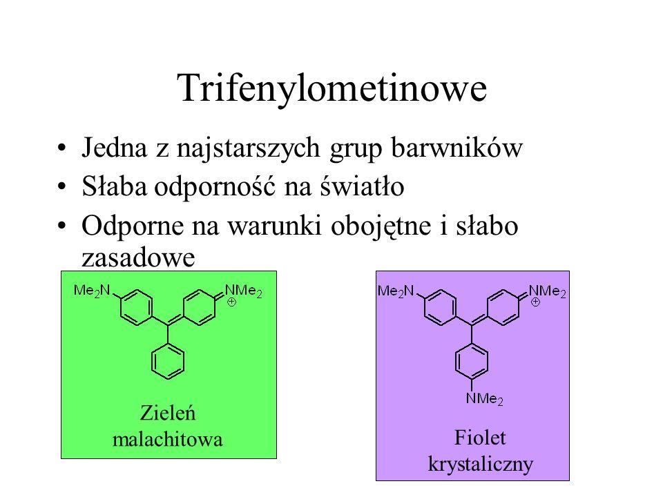 Trifenylometinowe Jedna z najstarszych grup barwników Słaba odporność na światło Odporne na warunki obojętne i słabo zasadowe Zieleń malachitowa Fiole