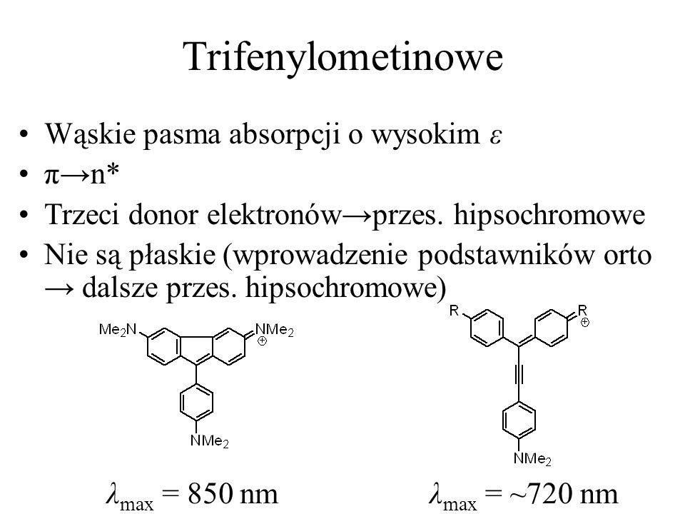 Trifenylometinowe Wąskie pasma absorpcji o wysokim ε πn* Trzeci donor elektronówprzes. hipsochromowe Nie są płaskie (wprowadzenie podstawników orto da