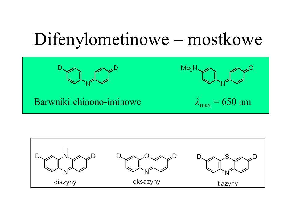 Difenylometinowe – mostkowe Barwniki chinono-iminoweλ max = 650 nm