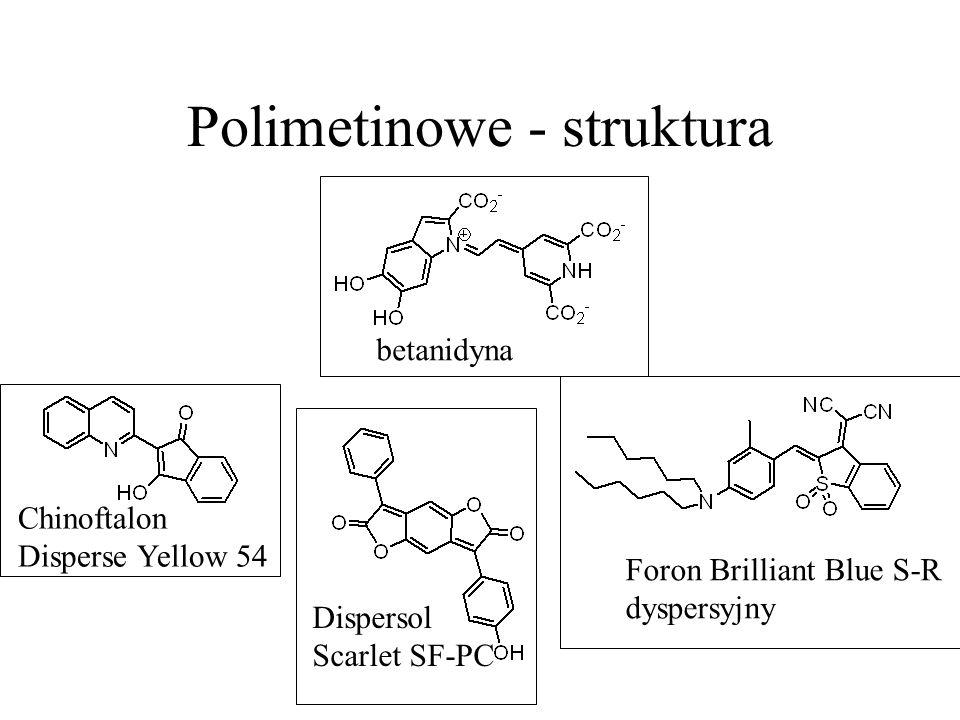 Polimetinowe - struktura Foron Brilliant Blue S-R dyspersyjny Chinoftalon Disperse Yellow 54 Dispersol Scarlet SF-PC betanidyna
