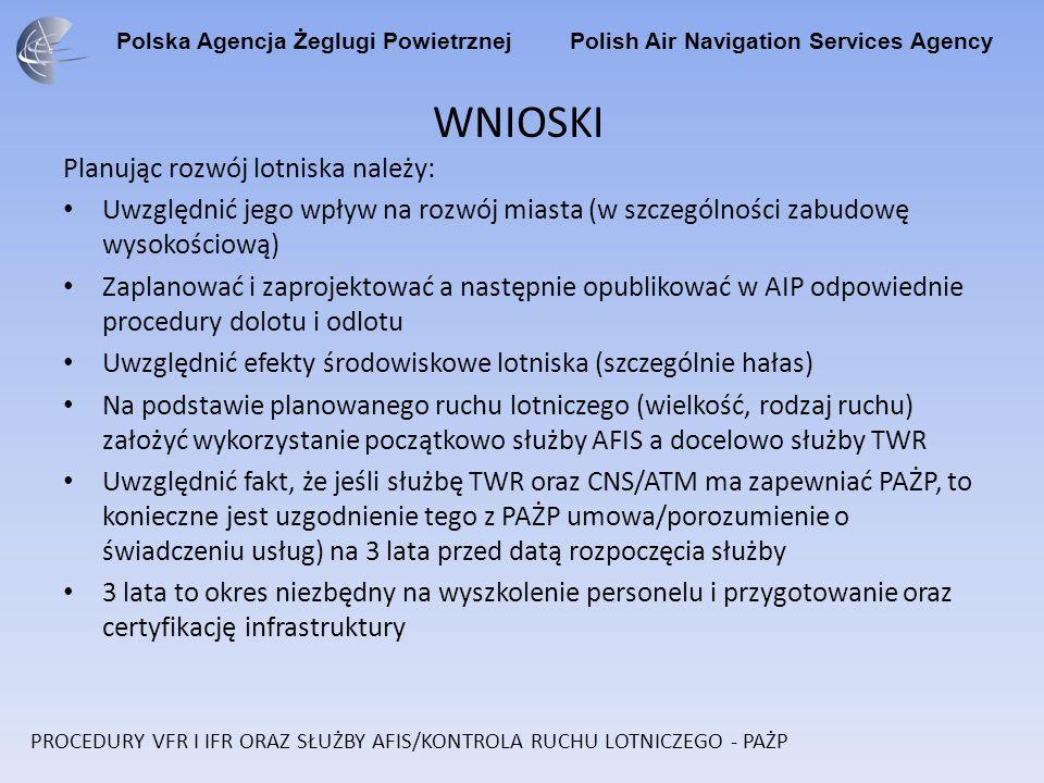 Polska Agencja Żeglugi Powietrznej Polish Air Navigation Services Agency WNIOSKI Planując rozwój lotniska należy: Uwzględnić jego wpływ na rozwój mias