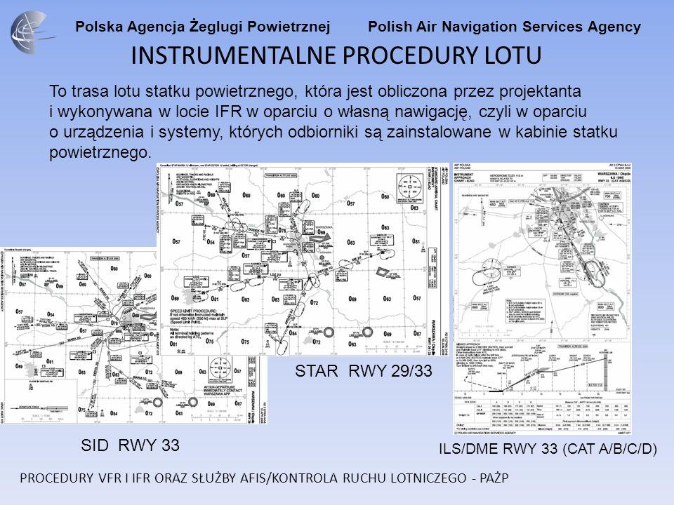 Polska Agencja Żeglugi Powietrznej Polish Air Navigation Services Agency INSTRUMENTALNE PROCEDURY LOTU To trasa lotu statku powietrznego, która jest obliczona przez projektanta i wykonywana w locie IFR w oparciu o własną nawigację, czyli w oparciu o urządzenia i systemy, których odbiorniki są zainstalowane w kabinie statku powietrznego.
