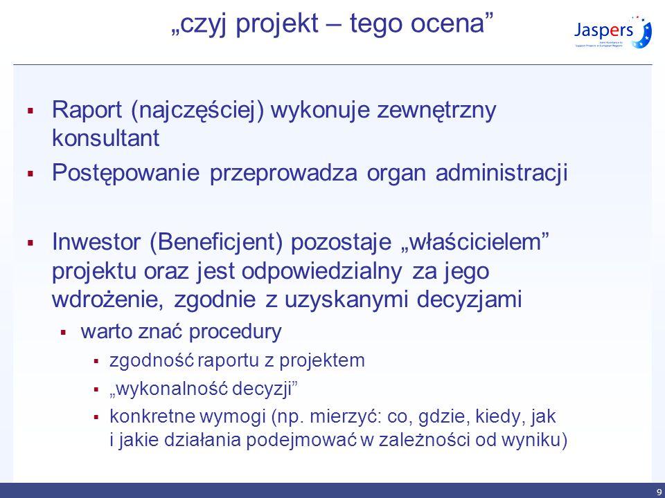 9 czyj projekt – tego ocena Raport (najczęściej) wykonuje zewnętrzny konsultant Postępowanie przeprowadza organ administracji Inwestor (Beneficjent) p