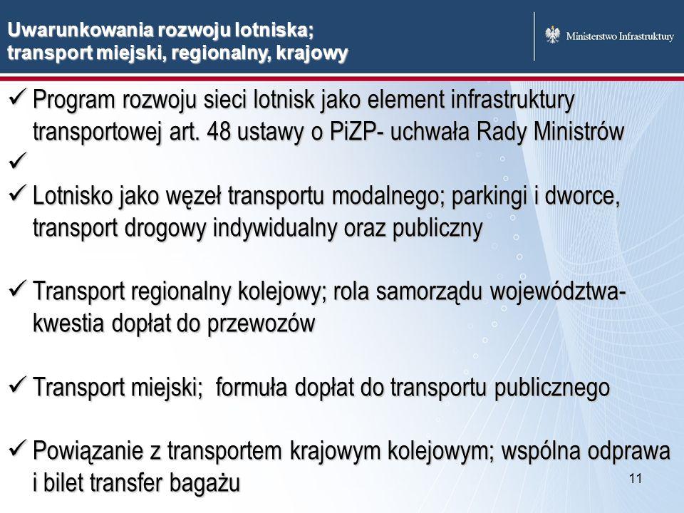 11 Uwarunkowania rozwoju lotniska; transport miejski, regionalny, krajowy Program rozwoju sieci lotnisk jako element infrastruktury transportowej art.