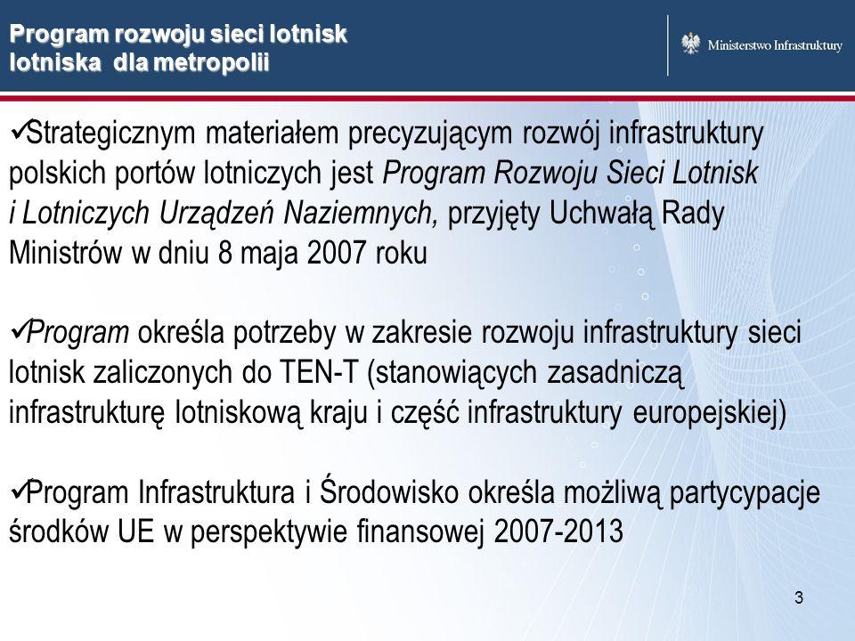 4 Program Rozwoju Sieci Lotnisk i Lotniczych Urządzeń Naziemnych zawiera kryteria zasadności budowy nowych lotnisk regionalnych i lokalnych oraz ich lokalizacji wykorzystanie istniejących zasobów poprzez modernizację i rozbudowę istniejących lotnisk komunikacyjnych wykorzystanie na cele cywilnego lotnictwa komunikacyjnego istniejącej infrastruktury lotnisk niekomunikacyjnych (wojskowych oraz sportowo-usługowych) Planowanie nowych lotnisk a rozbudowa istniejących
