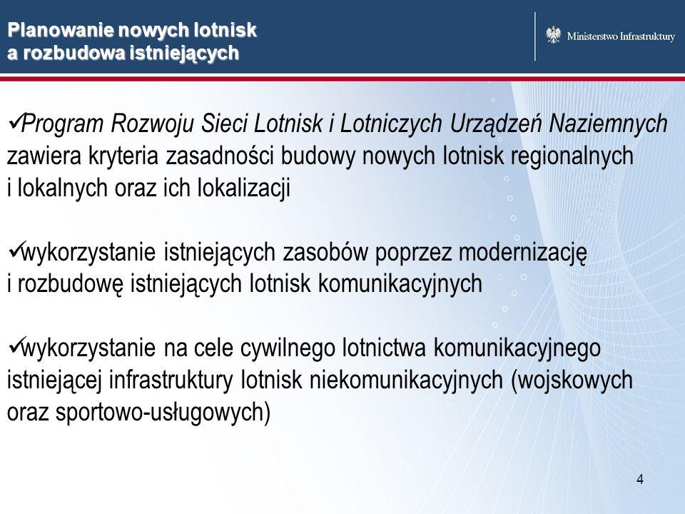 5 Planowanie nowych lotnisk kontekst rozwoju regionalnego z analizy obszarów ciążenia obecnie działających portów lotniczych wynika, iż zasadne jest uzupełnienie sieci portów regionalnych o 5 portów zlokalizowanych w województwach: warmińsko-mazurskim, podlaskim, lubelskim, zachodnio-pomorskim oraz świętokrzyskim nowe lotniska powstaną m.in.
