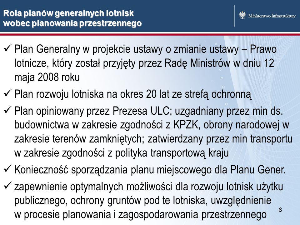 8 Plan Generalny w projekcie ustawy o zmianie ustawy – Prawo lotnicze, który został przyjęty przez Radę Ministrów w dniu 12 maja 2008 roku Plan rozwoj